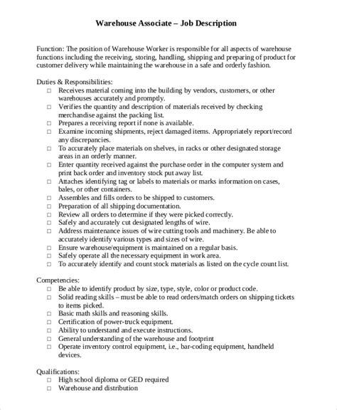 Sample Warehouse Job Description   10  Examples in PDF, Word