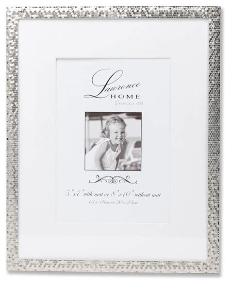 Picture Frames 8x10 Matted by 8x10 Silver Shimmer Metal Matted For 5x7 Picture Frame