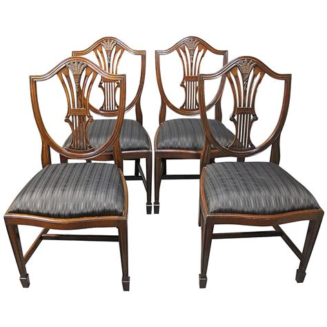 Antique Mahogany Dining Room Furniture Set Of Four Antique Hepplewhite Dining Room Chairs In Mahogany 1920s At 1stdibs