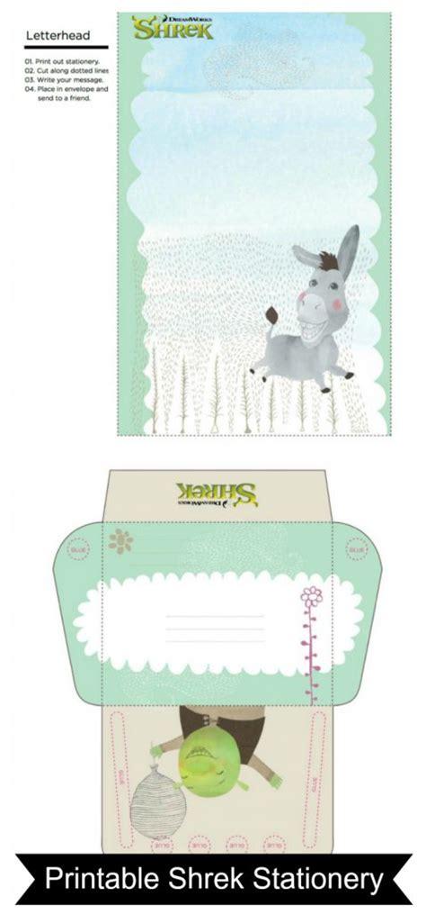 free printable stationery sets free printable shrek and donkey stationery set mama