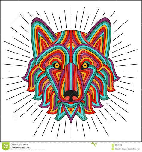 t shirt design background creative stylized wolf head in ethnic linear style good
