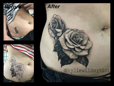 rose stomach tattoo cover up black and grey on stomach hip by