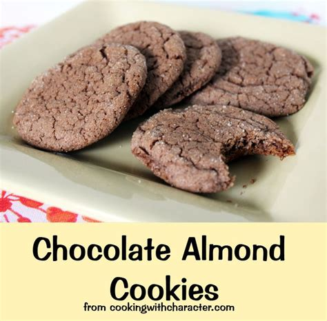 Choco Almond Cookies chocolate almond cookies cooking with character
