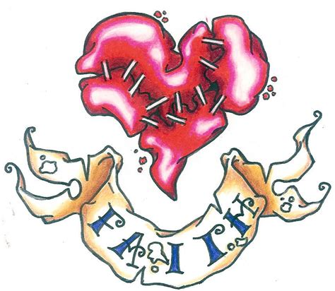 heart tattoo designs with banner broken with banner design tattooshunt