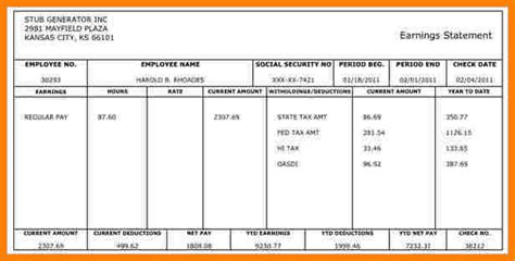 pay stub excel template pay stub format in excel pay stub template