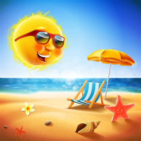 funny images of hot sun hot summer holiday background with funny sun vector 05