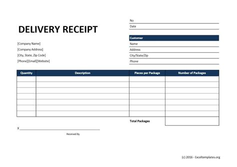receipt template for kt package delivery receipt template excel templates excel