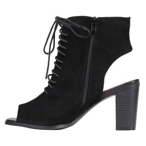 toe high heel boots suede cut out heel peep toe chunky block mid high