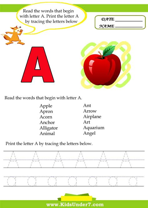 Start With The Letter A beginning reading words images