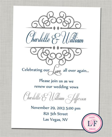 printable wedding vow renewal invitations items similar to celebrating our printable invite