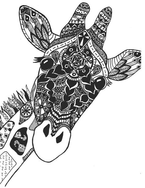 pattern giraffe drawing zentangle giraffe print by stephschaeferart on etsy art