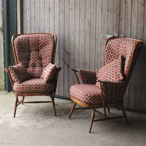 ercol armchairs pair of vintage ercol highback armchairs by iamia