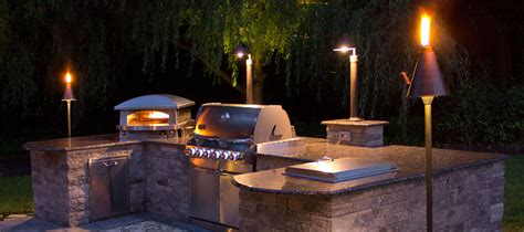 outdoor kitchen lights landscape lighting lombardo landscaping