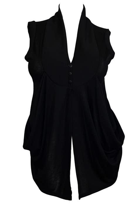 sleeveless draped cardigan plus size sleeveless draped cardigan black evogues apparel