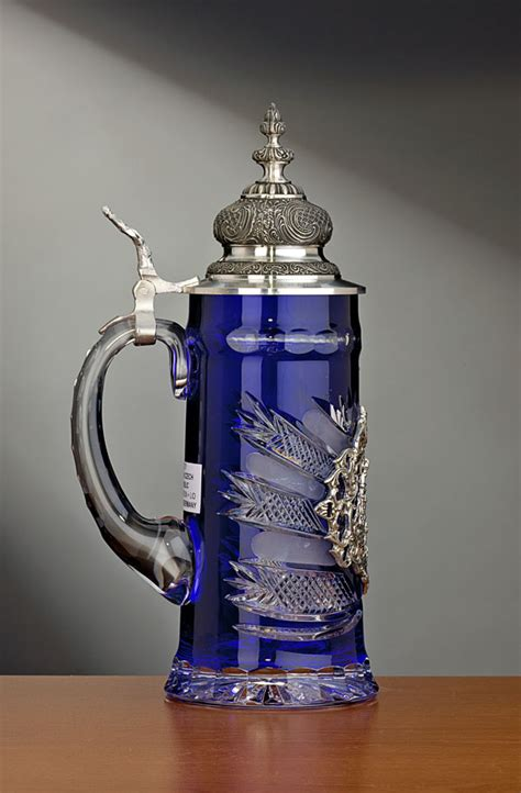 blue lord  crystal german beer stein  pewter lid