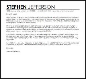 cover letter for a magazine sle cover letter for a photographer livecareer