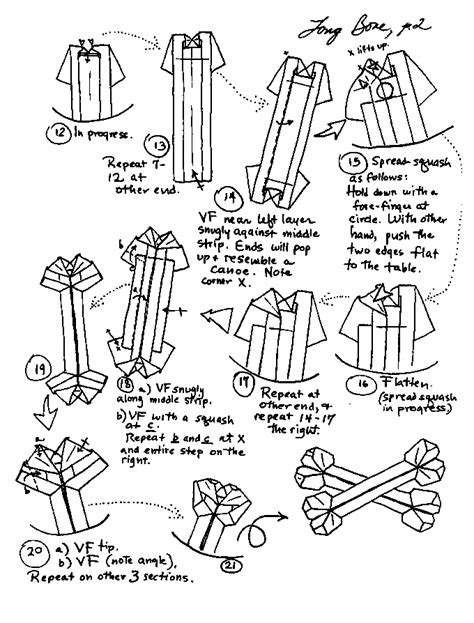 Origami Bone - origami learn how to make themed origami