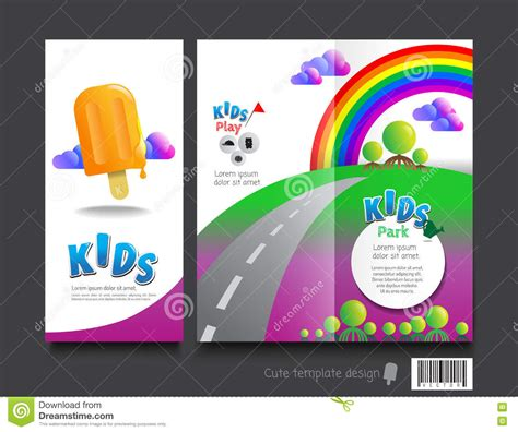 cute brochure template design kids concept stock vector