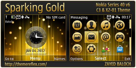 themes gold nokia sparking gold theme for nokia c3 00 x2 01 asha 200 201
