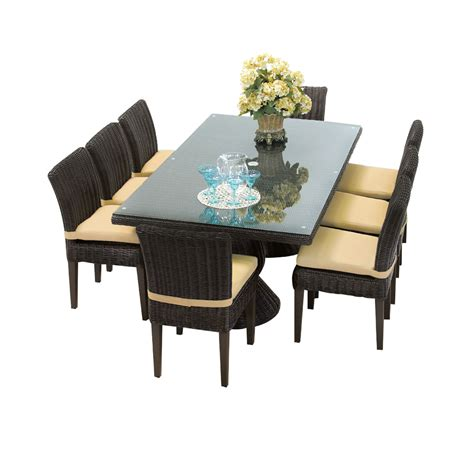 Dining Tables And 8 Chairs Venice Rectangular Outdoor Patio Dining Table With 8 Armless Chairs