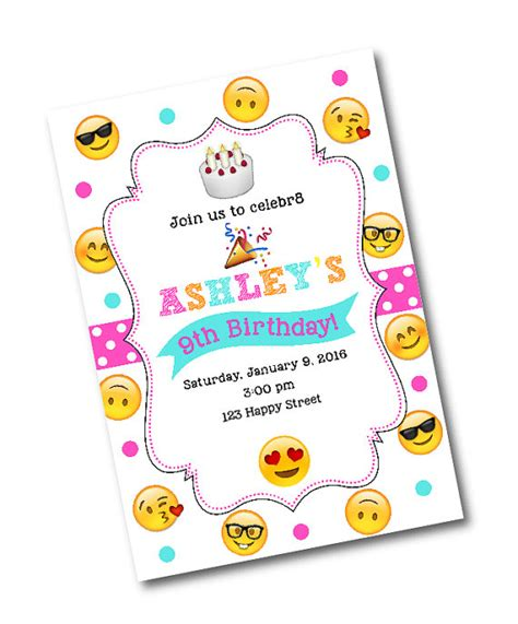 Emoji Birthday Card Template by Emoji Birthday Invitation Emoji By