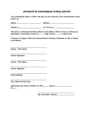 Bill Of Sale Form Kentucky Affidavit Of Conversion To Real Estate Form Templates Fillable Manufacturer S Affidavit Template Fillable