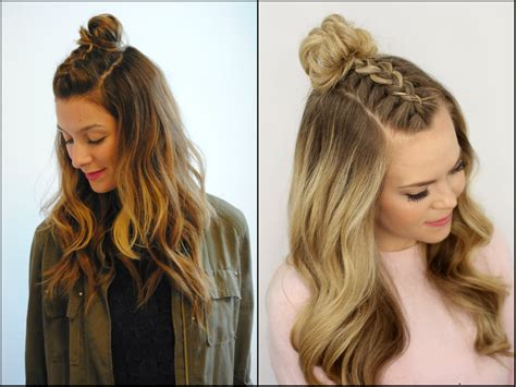 knotted half up half down hairstyles half up half down top knots best for summer time