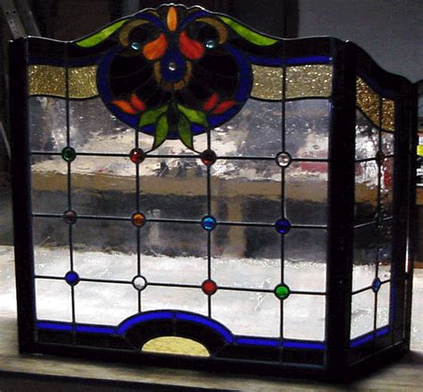 Custom Glass Fireplace Screens by Stained Glass Fireplace Screen