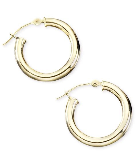 macy s 14k gold hoop earrings in metallic lyst
