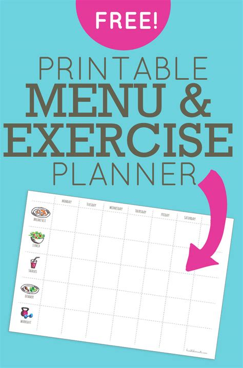 printable exercise planner free menu exercise planner free printable back to her roots
