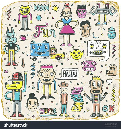 doodle viewer for bbm free wacky doodle characters set 12 vintage texture