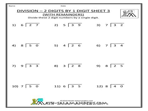 2 And 3 Digit Division Worksheets by Free Worksheet 2 Digit Division Worksheets Phinixi