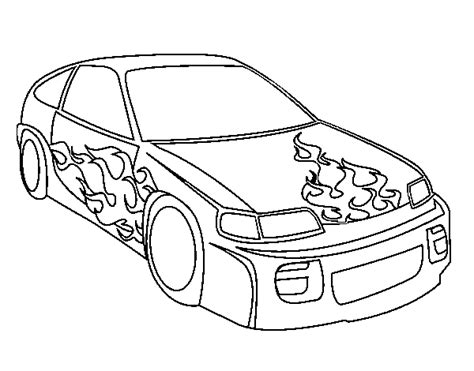 Car With Flames Coloring Page Coloringcrew