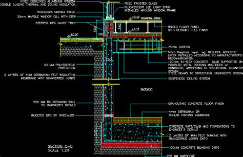 Floor Plan Dwg by Basement Tank Raised Floor Wall And Window Section Dwg