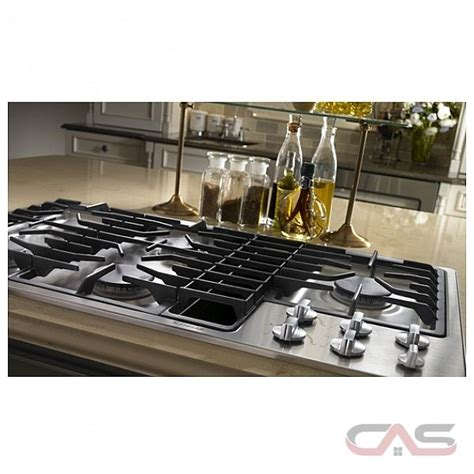 Gas downdraft cooktop with jx3 ventilation system and 5 sealed burners