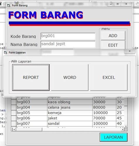 laporan excel  word  vb asprak blog