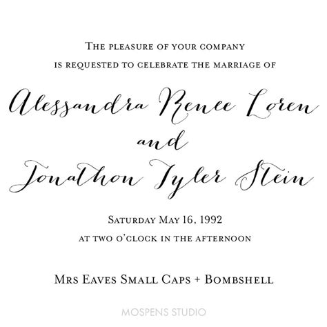 wedding font mrs eaves small caps custom watercolor invitations unique handmade wedding