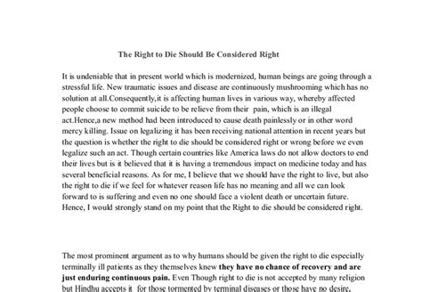 The Right To Die Essay by The Right To Die Should Be Considered Right Gcse Marked By Teachers