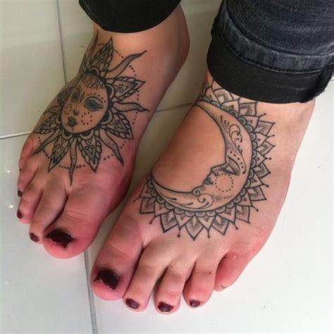 sun foot tattoo healed sun and moon tats foottattoo sun