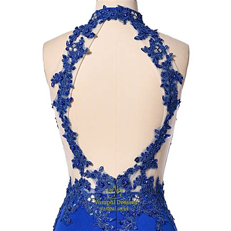 lace applique blue halter lace applique and embellished prom dress