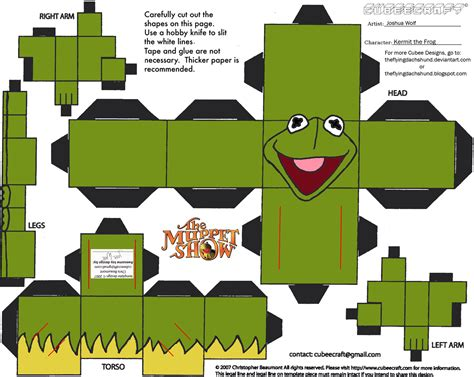 Papercraft Fairs - muppets 1 kermit cubee by theflyingdachshund on deviantart