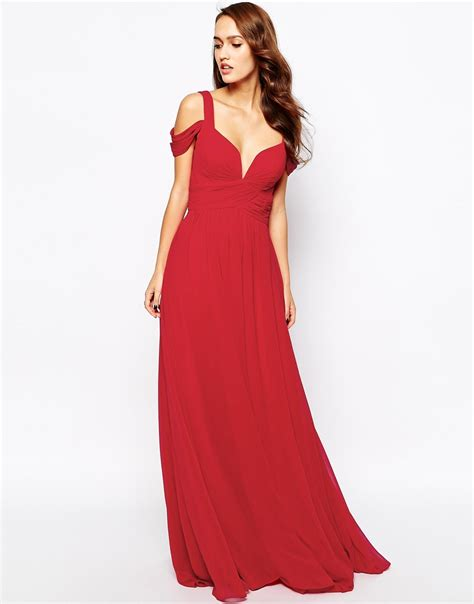 lyst forever unique sweetheart maxi dress with shoulder in