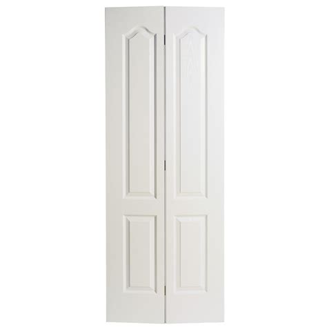 2 Panel Bifold Closet Doors Shop Reliabilt No Frame 2 Panel Arch Top Hollow Textured Molded Composite Bifold Closet