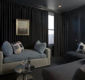 Media Room Blackout Curtains - media room transitional home theater atlanta by the curtain exchange atlanta