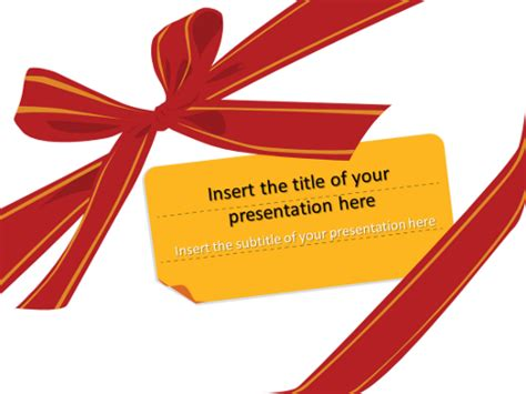 Gift Ribbon And Bow Template For Powerpoint And Impress Gift Powerpoint Template