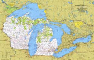 Michigan Great Lakes Map by Wisconsin Michigan And The Great Lakes Map 1973 Maps Com
