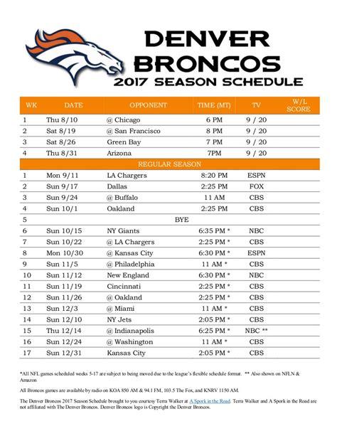 printable broncos schedule denver broncos 2017 season schedule a spork in the road