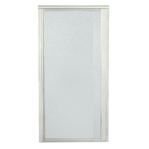 Pebbled Glass Shower Door Sterling Vista Pivot Ii 26 1 2 In X 65 1 2 In Framed Pivot Shower Door In Nickel With Pebbled