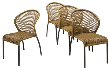 faux wicker outdoor furniture 4 faux wicker patio chairs luxury estates aucton day one auction gallery