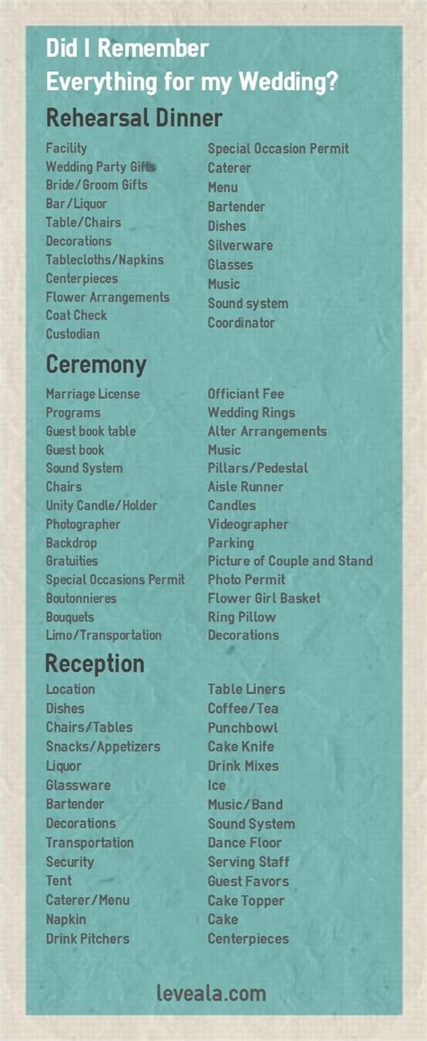 theme wedding list wedding reception accessories checklist images wedding
